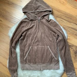 Juicy couture brown terry zip up hoodie size large